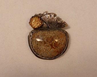 Petrified Coral Fine and Sterling Silver 24K Gold Pendant