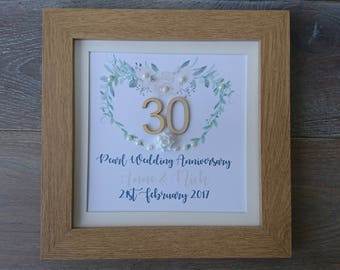 Pearl Wedding Anniversary, 30th Wedding Anniversary, Pearl anniversary, Pearl, Anniversary, Personalised, Anniversary Present, Wedding