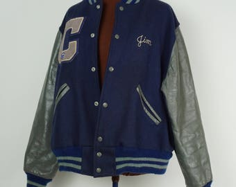 Old varsity letter jacket / High school letterman jacket / Vintage varsity jacket / Wool and leather award jacket