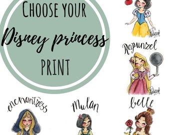 CHOOSE PRINT Little Disney Princesses - Fandom art print - Harry Potter Painting- Disney Painting - Book lovers - Gifts for Booknerds