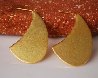 Gold Plated Earrings, Dangle Earrings, Minimalist Earrings, Brass Earrings, Drop Earrings, Statement Earrings