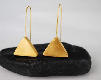 Drop Earrings, Gold Plated Earrings, Dangle Earrings, Minimalist Triangle Earrings, Geometric Earrings