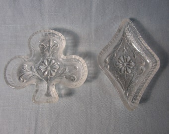 VTG Bridge Players Pressed Glass Nut Dishes in Diamond and Club Shapes