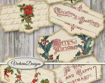 Merry Christmas Labels Printable Vintage Christmas labels paper crafting scrapbooking instant download digital collage sheet - VDLACM1480