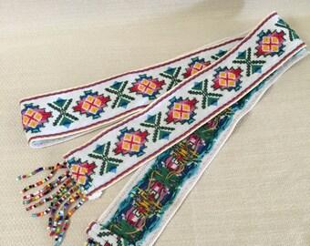 Hand Embroidered and Fringe Beading Southwestern Native  American Sash Belt