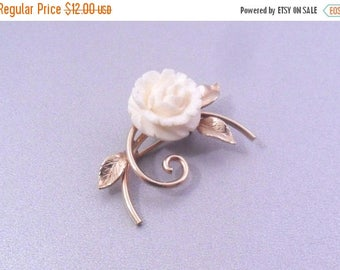 ON SALE Winard 12K Gold Filled Carved Flower Brooch - Ivory Color Floral Pin - Circa 1950