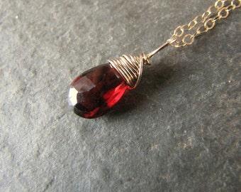 Garnet Pendant Tiny Genuine Gemstone Necklace Dainty 14 k gold filled wire wrapped briolette teardrop
