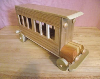 Reclaimed Extra Large Wooden Toy Bus WITH REMOVEABLE TOP for Children Kids Boys Eco friendly Car Natural Unpainted Organic