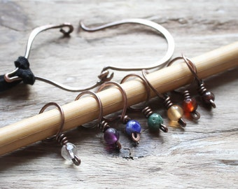 Chakra Stitch Marker Set Necklace. Hand forged in Copper. Gift for the Handknitter. Knitting.