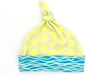Honeycomb Organic Cotton Baby Hat, Yellow Newborn Baby Beanie, Gender Neutral Top Knotted Hat, Unisex Baby Shower Gift, Geometric Baby Hat