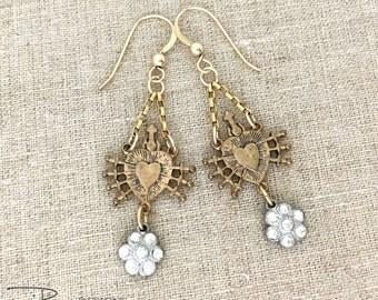 Mixed Metal Earrings, Rhinestone Dangle Earrings, Religious Earrings,  Sacred Heart Earrings, Silver and Gold, Vintage Repurposed Earrings