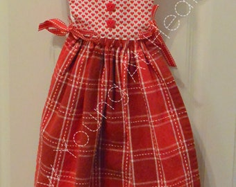 Red Plaid Kitchen Towel Dress, Red and White Hearts