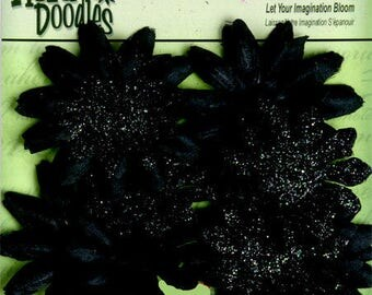 """Small fabric flowers - Black Daisy Layers 20 pieces - 1293-300 - Fabric and Glitter Daisies  1 1/2"""" to 2 1/4""""  sizes"""