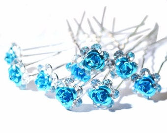 Blue Rose Flower Hair Pin - 20 Pcs