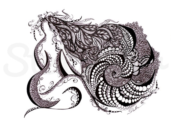 Yoga  Art  Zentangle TWIST - print from original design and drawing, yoga wall decor