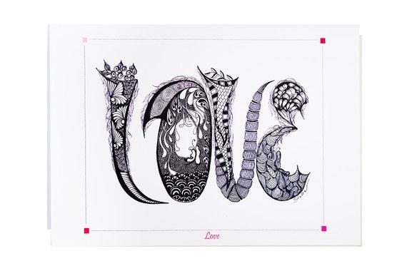 YOGA ART Greeting Card LOVE  - 5x7 from Original Ink Drawing, Home Decor, Yoga Studio Decor