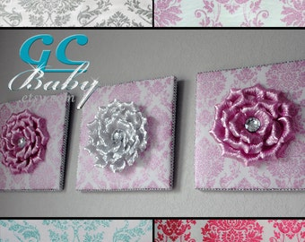 Custom Flower Upholstered Decor Plaque 4 Fabric Colors in Aqua, Grey, Hot Pink, Light Pink - Wall Hanging for Baby Nursery and Girls Bedroom