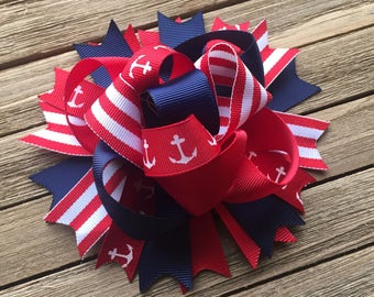Anchor hair bow red and navy , over the top, 5 inch hair bow,  funky red white and navy anchor bow , anchor hair clip , anchor hairbow