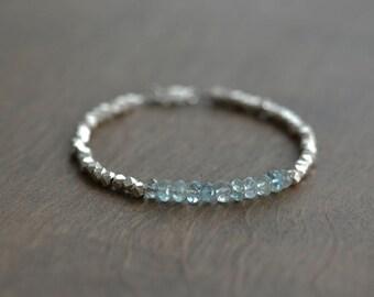 Aquamarine Beaded Bracelet, Beaded Bracelets,March Birthstone, Beaded Bracelet, Sterling Silver Bracelet, Hill Tribe Silver beads Bracelet