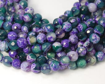 Fire Agate in 6mm Faceted Purple and Teal,  - 15mm