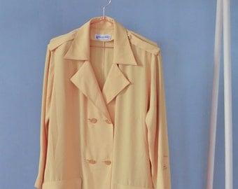 SALE Yellow Summer Blazer ESTER KEN Paris designer coat Vintage 70's