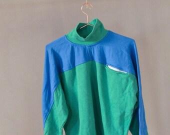 SALE Two-tone Turtleneck Cotton Sweatshirt UNISEX vintage 90's cotton sweatshirt