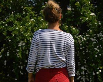 Navy-White Striped Cotton Blouse Top Vintage 80's