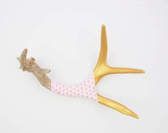 Painted Antler - MEDIUM - Gold, Lavender, Orange & Pink Pattern - Home Decor
