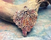 Nature's Lace Artisan Bronze PMC Skeleton Leaf Pendant