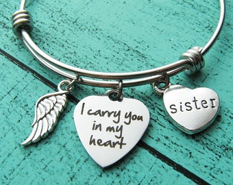 sister memorial jewelry, loss of loved one, loss of sister bracelet, sympathy gift, in memory of, sister remembrance I carry you in my heart