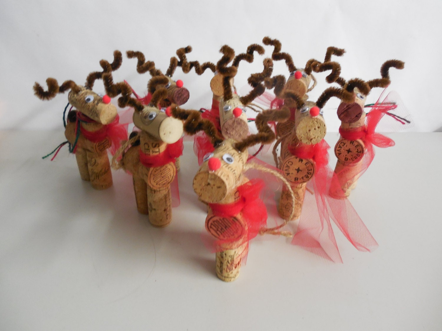 Wine cork reindeer ornament handmade christmas by