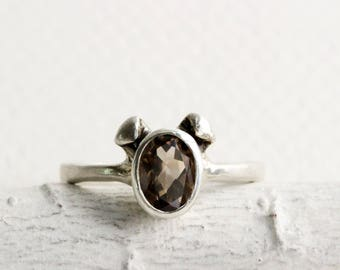 Brown Dog Ring, Smoky Quartz and Sterling Silver, Dog Design2, Puppy Silver Ring