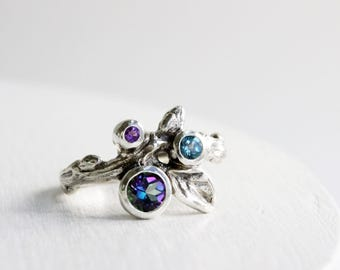 Gem Cluster,Mystic Topaz,London Blue Topaz and Amethyst Silver Leaf Twig Ring,Leaf Fine Jewelry