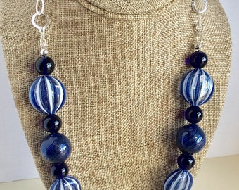 Luxury Blue Venetian Glass Necklace