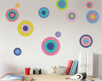 Polka Dot Wall Decals – Set of 12 Circle Peel and Stick Stickers – Precious Collection