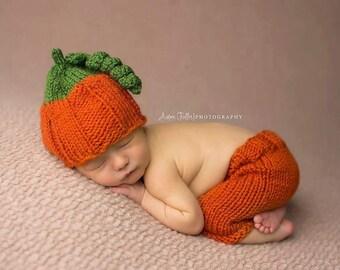 baby halloween photo prop - newborn pumpkin outfit - baby pumpkin photo prop - halloween photography prop - baby pants - baby pumpkin hat