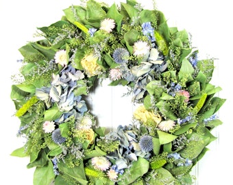 Dried Floral Wreath with Hydrangea, Natural Hydrangea Wreath