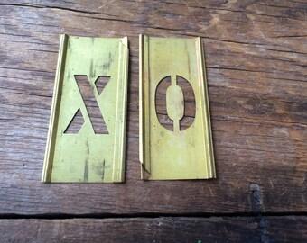 Vintage brass stencils / XO