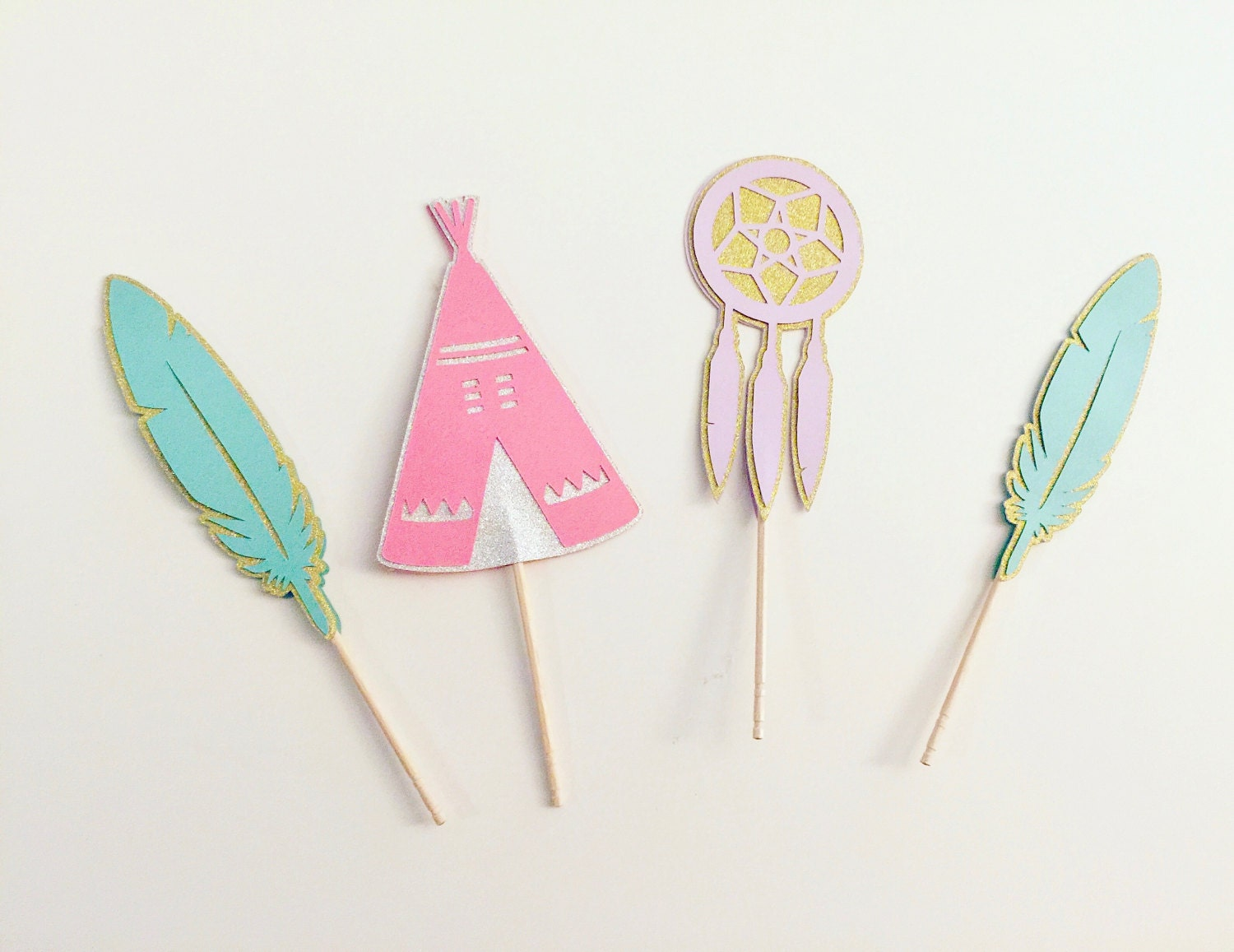bohemian cupcake toppers set of 12 tribal party theme teepee dream catcher cake toppers pink