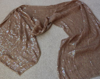 SALE Gold sequin bead edged stole wide evening scarf wrap stunning glamorous
