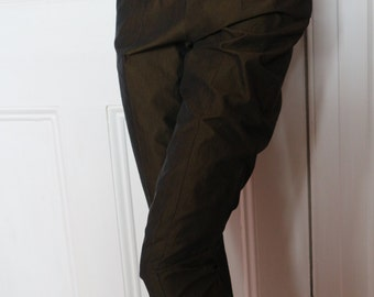 Katharine Hamnett vintage bronze black cotton cropped trousers Made in Italy S