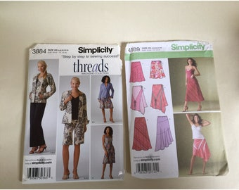 2 Fashion Patterns - Threads Wardrobe and Bias Pull-On Skirts. Simplicity 3884 and 4189. 6-14