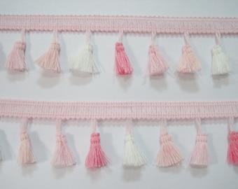 5 yards Pink Tassel Fringe, tassel trim, multicolored tassel trim, Tassel garland, boho trim, pink tassel trim, pastel tassel trim,pink trim