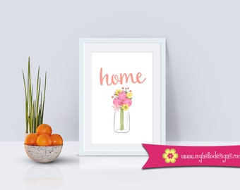 Home Wall Art Decor - Print Quote Family Home Simple Decoration Flower Kitchen Dining Foyer Entry Home House Love