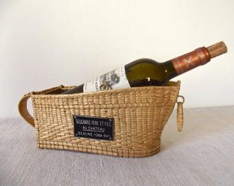 Prestigious Wine Merchant - French vintage Wine Basket - prestigious Wine - French Wine - BEAUNE Wine - Wicker Basket Wine