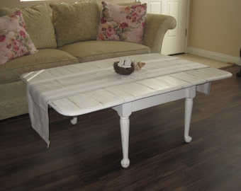 Charming Rustic Farmhouse Drop Leaf Coffee Table - Shabby Chic Vintage Side Table - In Distressed Creamy White