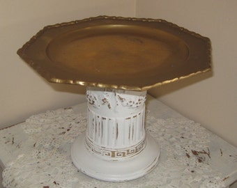 Shabby Chic Pedestal Cake Plate - Vintage Octagonal Brass Plate - Ornate  Grecian - Pillar Stand in Distressed White