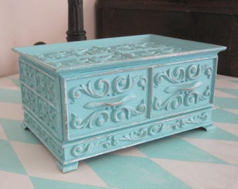 Ornate UpCycled Vintage Cottage Chic Jewelry Box  - Lerner Trinket Case Faux Carved Wood Upped & Distressed Aqua Blue