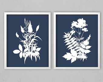 Navy Blue Wall Art blue floral wall art | etsy