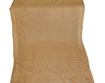 10% OFF on Used/recycled  Sari in beige Dress  Making fabric sarong drape Embroidered Sari